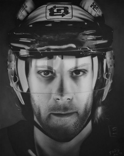 Fotorealismus, Eishockeyspieler, Monochrom, Realismus, Sportler, Portrait