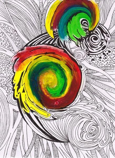 Schwurbel, Acrylmalerei, Tusche, Abstrakt, Malerei