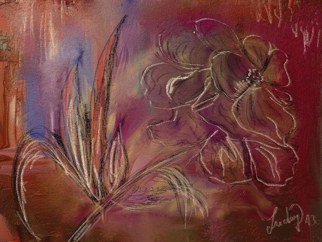 Einzelblume, Abstrakt, Malerei