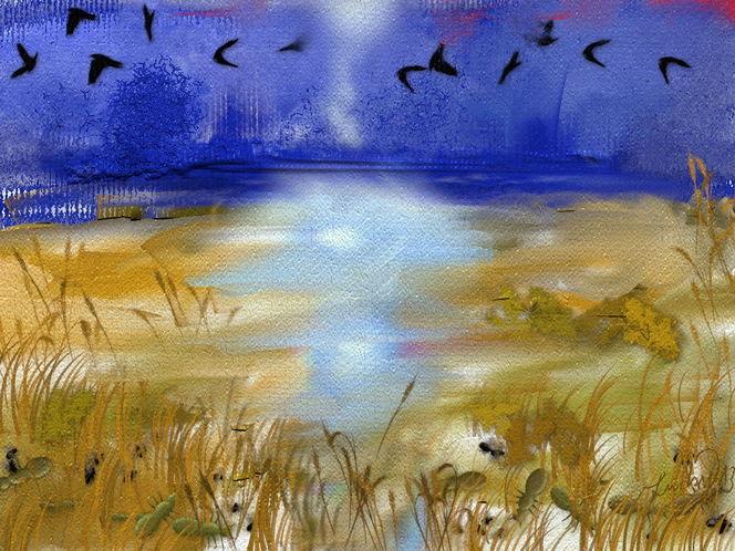 Landschaft, Luft, Tiere, Malerei