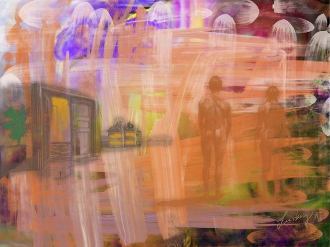 Vergangenheit, Rückblick, Malerei, Menschen
