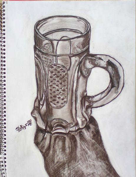 Kohlezeichnung, Bierglas, Bier, Inspiration, Halber liter, Glas
