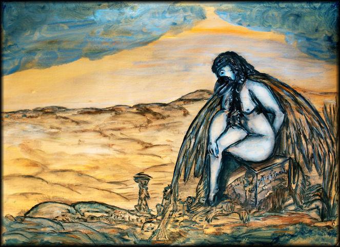 Gelb, Blau, Kolossin, Abstrakt, Syrien, Wüstenlandschaft