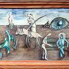 Bild ohne Namen 2 - Öl, 1982, surreal, Reiter, Auge, Figuren, Bank, Sitzend, mann, leinwandkarton