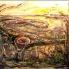 Und ockertönung, Kringel, Surreale landschafts, Gelb