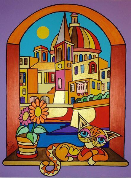 Valletta, Malta, Katze, Malerei