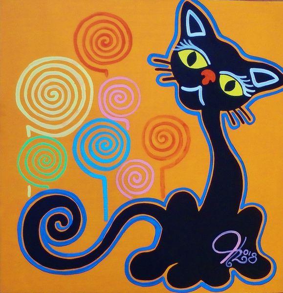 Katze, Blumen, Farben, Malerei
