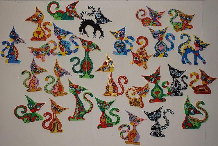 Katze, Familie, Malerei