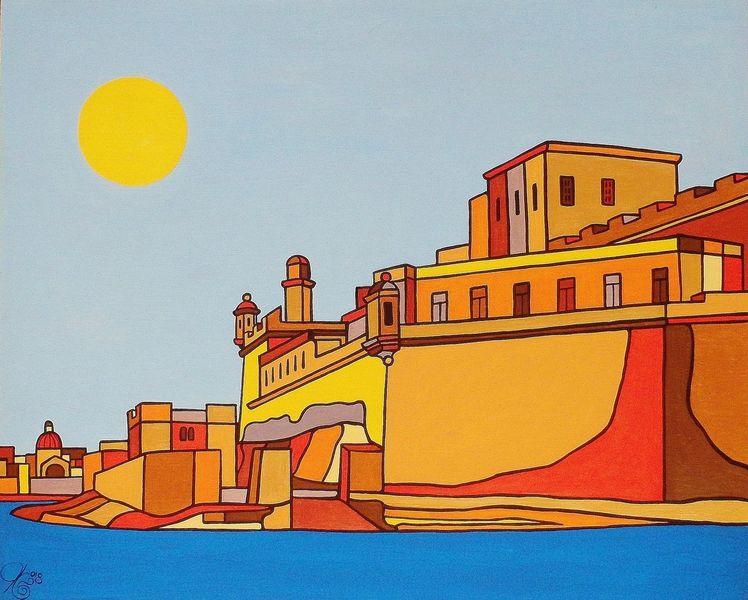 Hafen, Fort st, Birgu, Malta, Malerei,