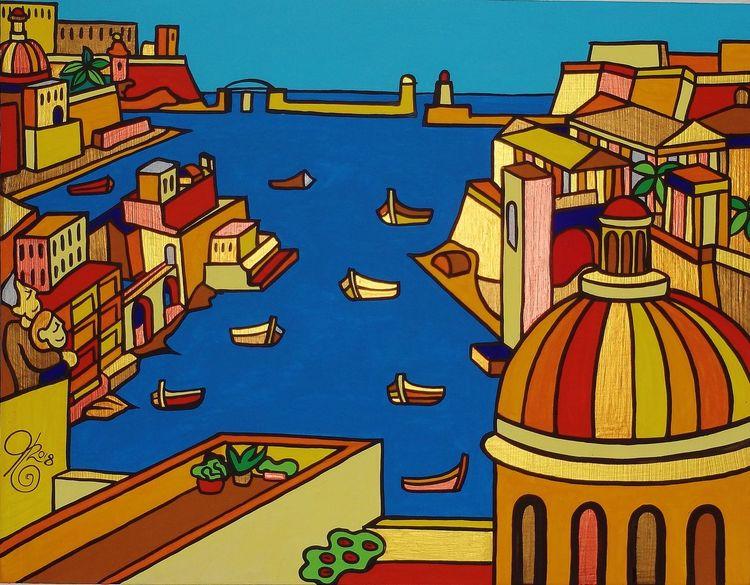 Valletta, Hafen, Kalkara, Malta, Birgu, Malerei