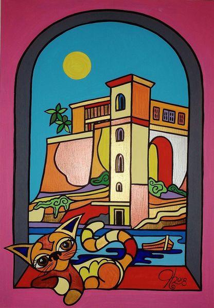 Kalkara, Malta, Katze, Malerei, Fenster