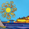 Sonnenaufgang, Hafen, Malta, Malerei