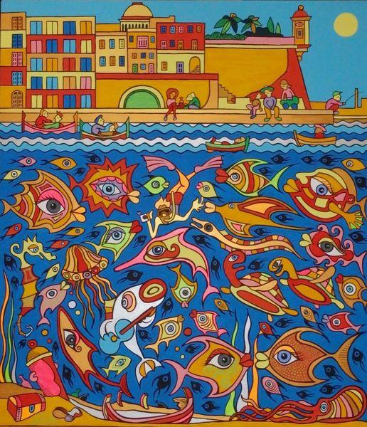 Valletta, Hafen, Meer, Sonne, Malta, Fisch