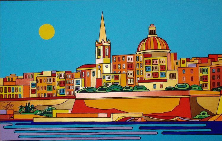 Valletta, Malta, Hauptstadt, Malerei, 2017