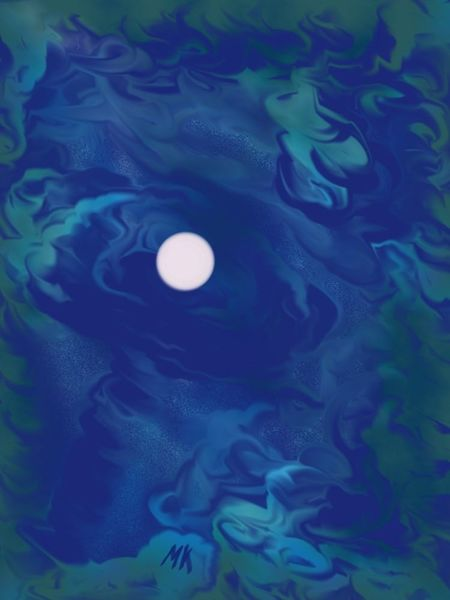 Digital, Vollmond, Blau, Digitale kunst