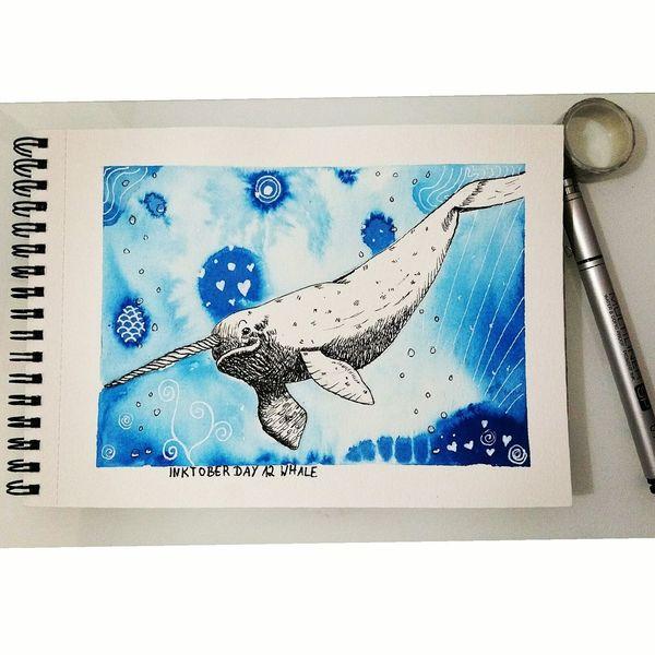 Wal, Inktober, Narwal, Illustrationen