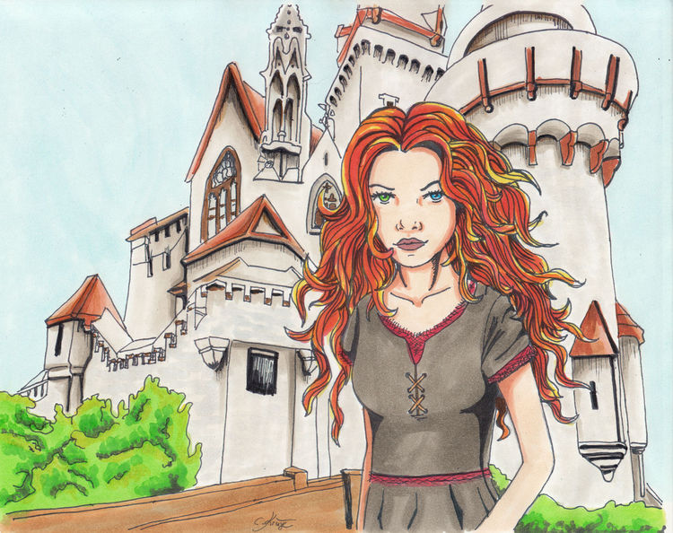Hexe, Mittelalter, Burg, Comic, Illustrationen