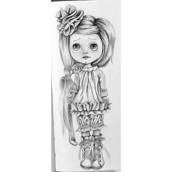 Puppe, Bleistiftzeichnung, Zeichnungen,