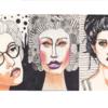 Gekritzel, Frau, Einlinienzeichnung, Illustrationen