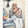Küche, Stillleben, Skizzenbuch, Katze