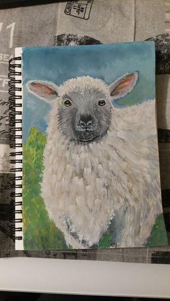 Tiere, Gouachemalerei, Schaf, Malerei