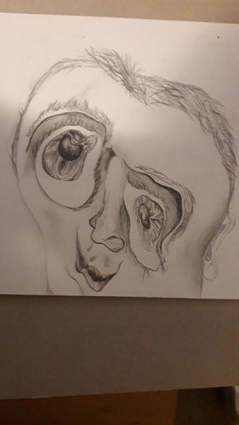Bleistiftzeichnung, Surreal, Gesicht, Rausch, Zerfließen, Zeichnungen