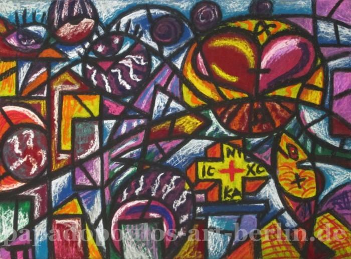 Pastellmalerei, Gelb, Licht, Herz, Kreuz, Lila