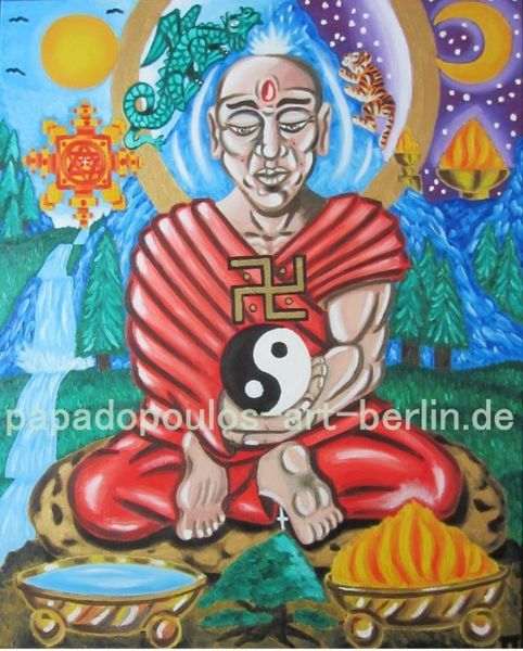 Symbol, Berge, Glaube, Jang, Ölmalerei, Baum