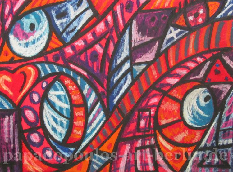 Pastellmalerei, Lila, Formen, Blau, Herz, Pink
