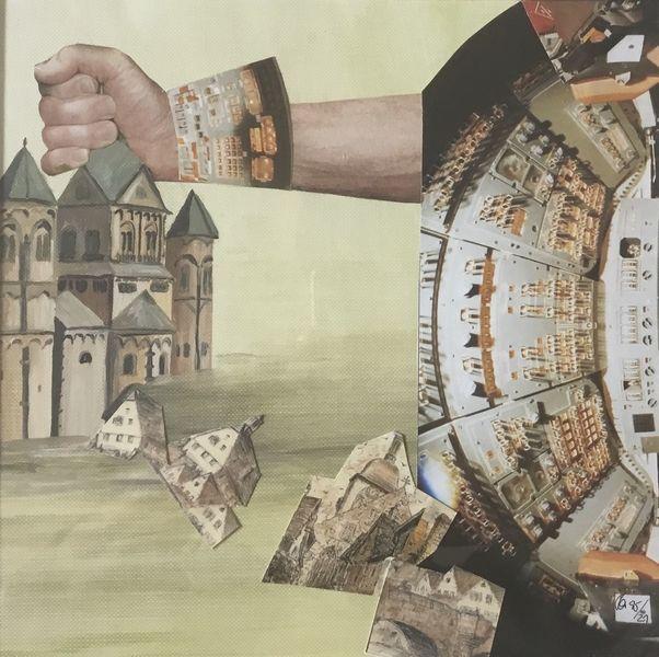 Faust, Golem, Kirche, Maschine, Technik, Mischtechnik