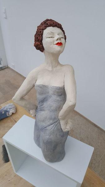 Keck, Frau mädchen, Frech, Keramik, Mieder, Altmodisch