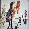 Vogel, Winter, Baby, Mischtechnik