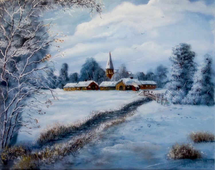 Verschneien, Winter, Schnee, Kalt, Dorf, Malerei