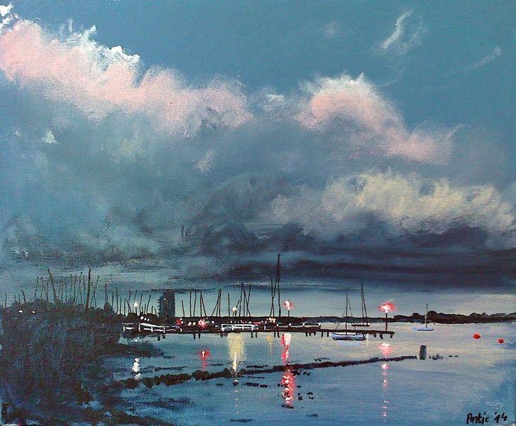 Küste, Wolken, Hafen, Boot, Himmel, Bucht