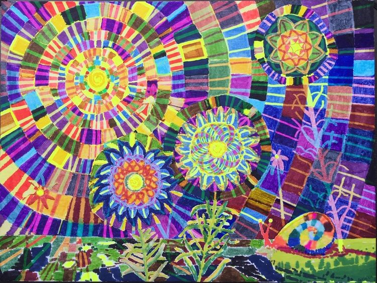 Bunt, Landschaft, Schnecke, Mandala, Blumen, Malerei