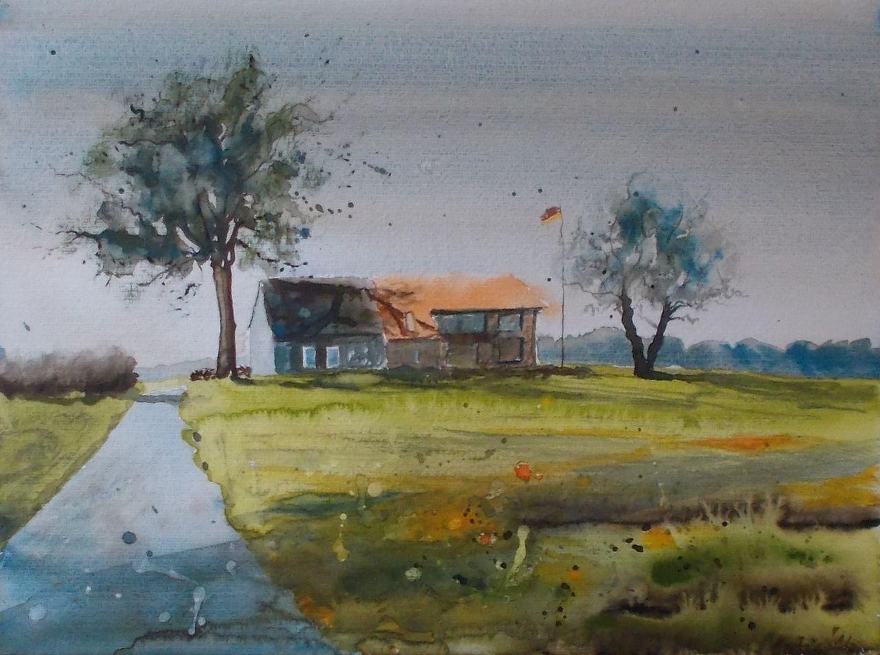 kleines geh ft landschaft geb ude hof aquarell malerei von antje fesl on kunstnet. Black Bedroom Furniture Sets. Home Design Ideas