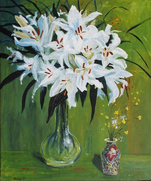 Lilien, Wiesenblumen, Blumen, Vase, Malerei