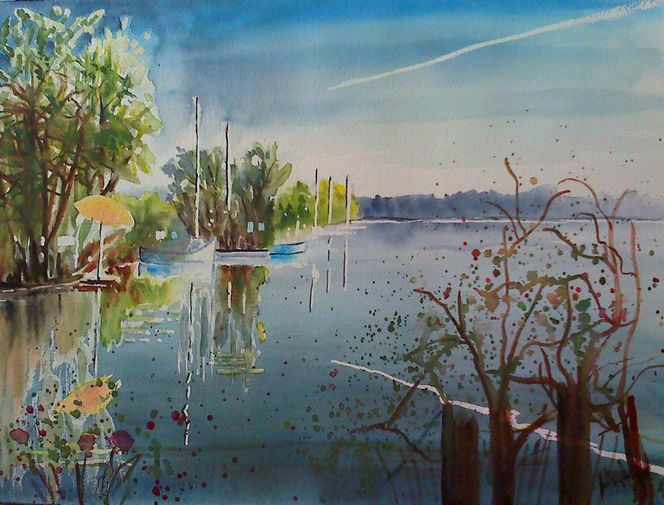Natur landschaft see, Aquarell, Malerei, Sommerabend, See