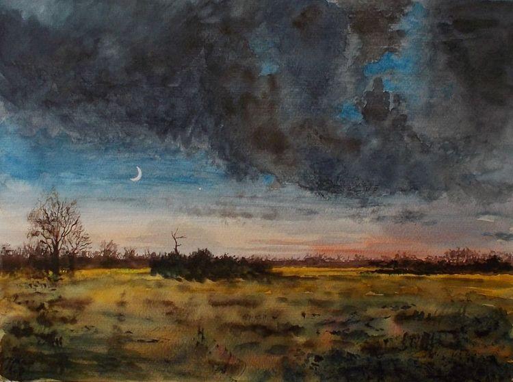 Weite, Landschaft, Abend, Wiese, Mond, Himmel