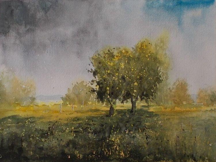 Landschaft, Himmel, Natur, Weite, Baum, Aquarell