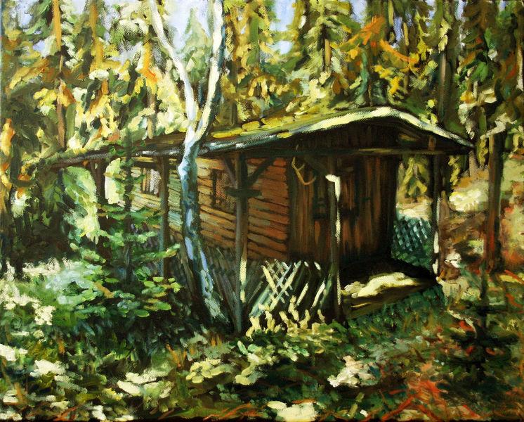 Plenair, Wald, Studie, Hütte, Sonne, Malerei