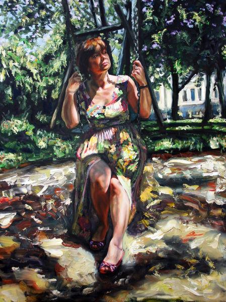 Sommer, Schatten, Frau, Spielplatz, Malerei