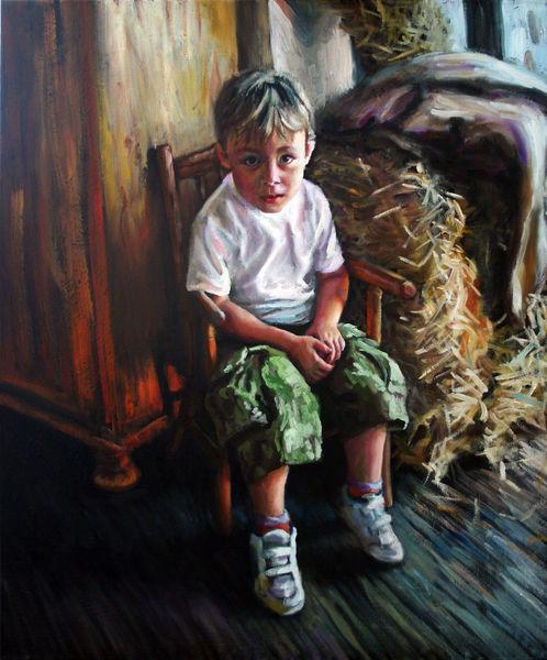 Bayer, Kind, Ölmalerei, Bauernhof, Menschen, Junge