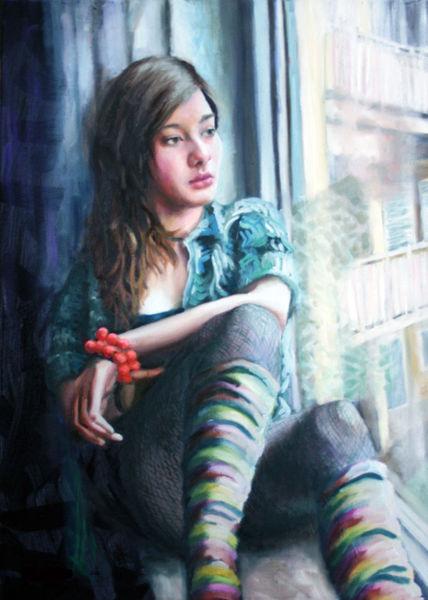 Mädchen, Armband, Portrait, Fenster, Malerei