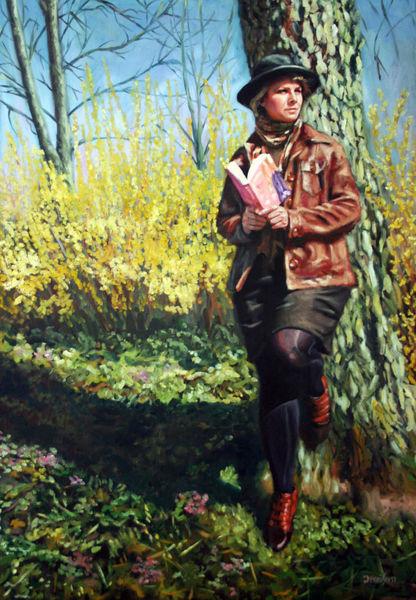 März, Frühling, Sonne, Frau, Malerei