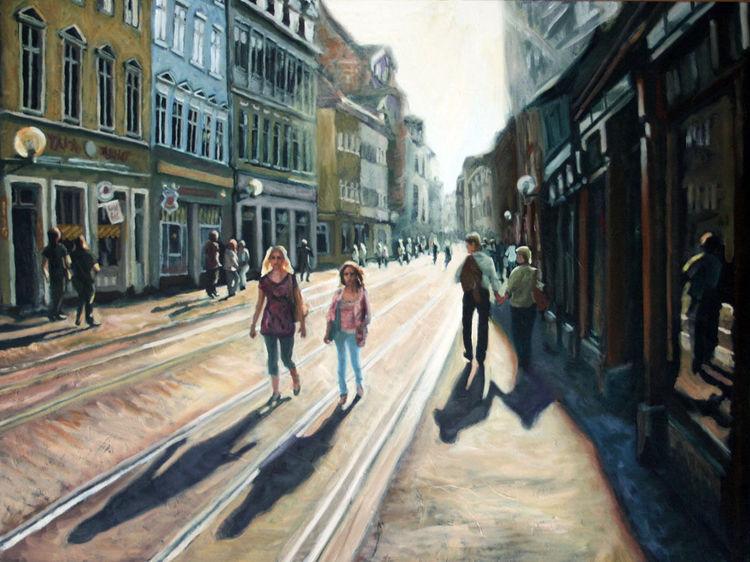 Schatten, Menschen, Stadt, Licht, Malerei, Gegenlicht