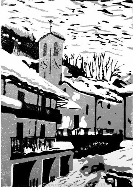 Dorf, Vergeletto, Winter, Schnee, Druckgrafik