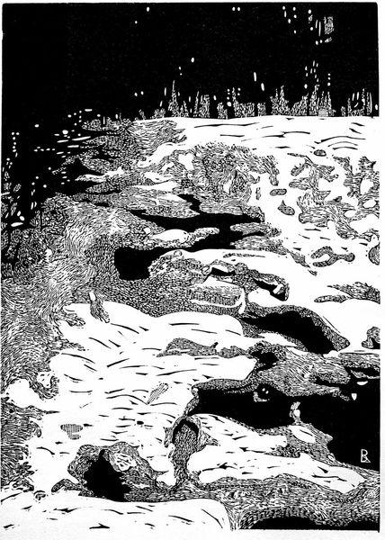 Schnee, Flusslandschaft, Winter, Druckgrafik