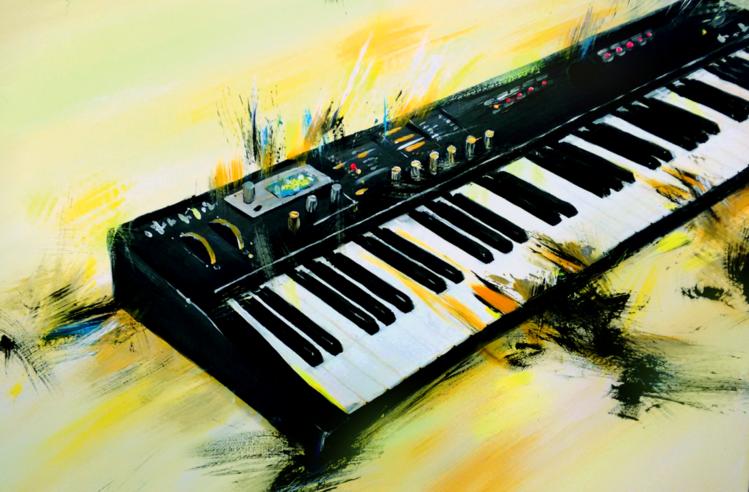 Tastatur, Instrument, Band, Musik, Acrylmalerei, Musikinstrument