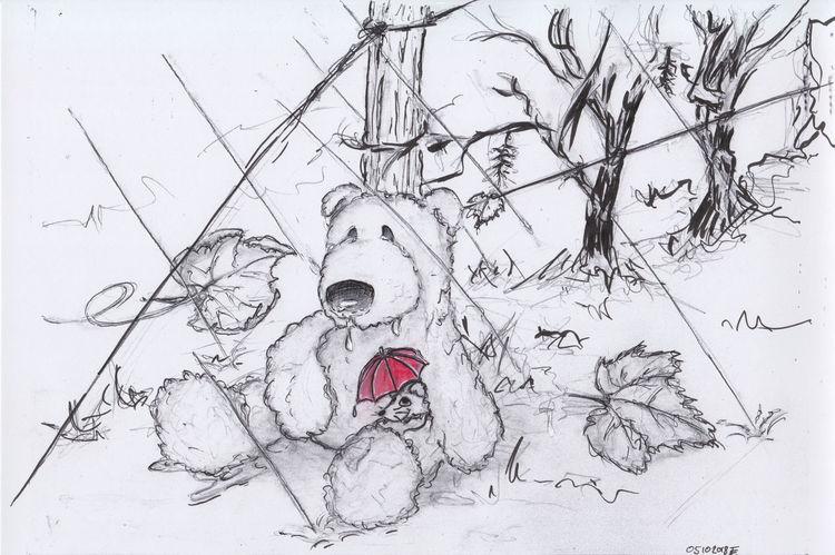 Teddybär, Zichnung, Maus, Hoffnung, Sturm, Zeichnung